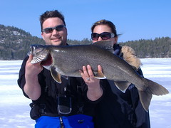 Matt with Marla's Fish (Carol Brady1) Tags: upperpeninsula icefishing iveslake