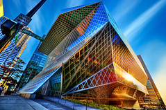 Library From Another Dimension (Surrealize) Tags: seattle street city windows sun reflection building public glass sign architecture modern lens design washington spring nikon triangle downtown angle steel library perspective diamond diagonal remkoolhaas flare scifi metropolis oneway fullframe fx hdr futuristic 14mm flickrsbest 9xp d700 surrealize