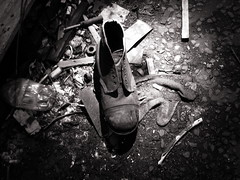old boot (pamelaadam) Tags: november autumn bw digital scotland arty political fotolog aberdeen 2008 richards urbex thebiggestgroup
