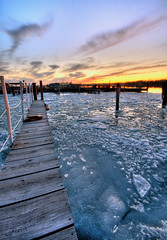 The Long Icy Walk of Doom (Scallop Holden) Tags: sunset sky ice river island niagara hdr tonawanda