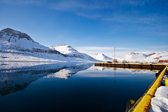 At the harbour in Reydarfjordur (*Jonina*) Tags: winter mountains reflection iceland village harbour sland vetur speglun fjll hfnin reyarfjrur reydarfjordur orp betterthangood allkindsofbeauty goldenheartaward mallmixstaraward