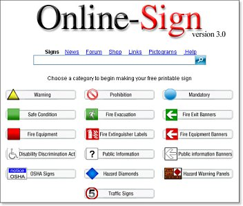Online-Sign v3 fast free customised printable safety signs