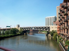 The West Ohio Street drawbridge over the Chicago River. Chicago Illinois. August 2006.