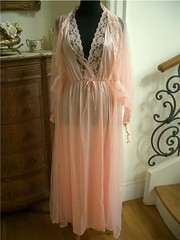 Caprolan Bright Denier Sheer Nylon Tricot Peach Peignoir Nightgown & Robe Full Length Front 2 (mondas66) Tags: ruffles tricot robe lace lingerie boudoir lacy nylon nightgown frilly robes nightgowns nightdress peignoir ruffle nightwear frills frill ruffled nightie lacework frilled nighties denier nightdresses frilling frillings peignoirs caprolan befrilled