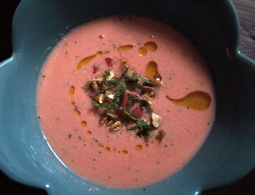 cold watermelon soup with Greek yogurt, mint, and toasted pecans