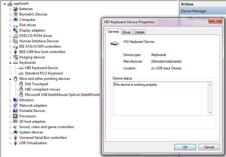 Windows 7 input device power management