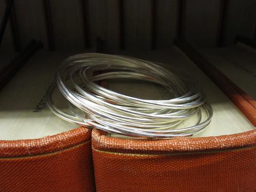 2 sets of silver bangle bracelts