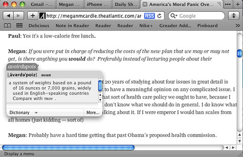 Pop-up a dictionary with a simple mouse click.
