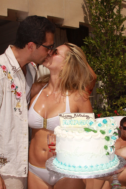 Actress/Model Natasha Henstridge celebrating her birthday jointly with her fiancé Darius Campbell who shares the same day!