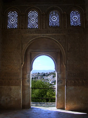 Gate to Granada (rogiro) Tags: door windows light shadow art gate muslim islam arabic alhambra quarter oldcity islamic generalife grananada