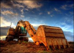 JCB (?) (angus clyne) Tags: dawn scotland bucket jcb perthshire tracks rusty hdr digger flikcr colorphotoaward