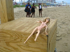 Barbie shows off at the beach (Robert Saucier) Tags: blue sky usa clouds naked sand maine barbie sable bleu ciel nuages nue oldorchardbeach bote cbcradio3 blonda imageoftheday img7099