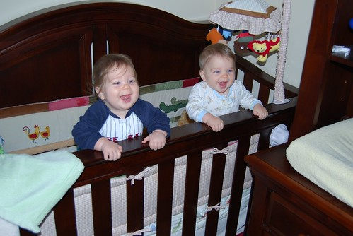 Alex and Adam in the crib