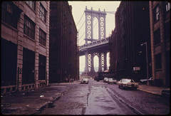 Manhattan Bridge Tower in Brooklyn, New York C...
