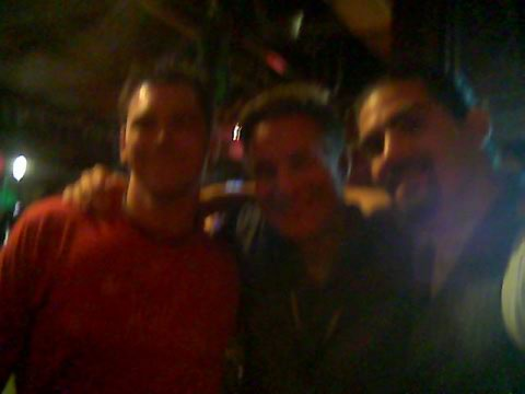 Tina took this blurry photo of me, Jeff Green, and Dante.