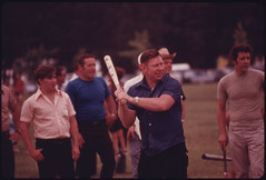 Wayne Gipson, a Belt Loader in a Coal Mine Owned by the Tennessee Consolidated Coal Company at Jasper, near Chattanooga Tennessee, Is Batting During a Softball Game at the Company´s First Annual Picnic...08/1974