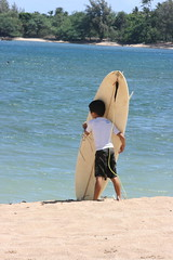 CheckingtheSurf. (dL-chang) Tags: boy beach hawaii surf child northshore pensive