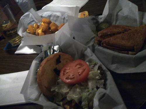Paradise burger, cheese balls, and sandwich