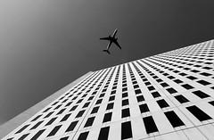 descent (eb78) Tags: blackandwhite bw abstract monochrome minnesota architecture skyscraper plane airplane noiretblanc jet minneapolis mpls twincities grayscale mn greyscale