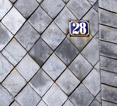 Traditional slate shingles (:Linda:) Tags: blue texture germany thringen village shingle thuringia number 28 slate propertynumber rhombus rhomb schiefer brnn