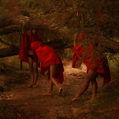 on the path (brookeshaden) Tags: red movement woods path cape hood cloak reverse clone notaselfie oliviaclemens brookeshaden oliviaellen