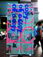 My copy of a copy of a copy of a copy (Tingwanananpar) Tags: street pink streetart art bike newspaper losangeles paint strangers statement confusing littletokyo soawesome panasonicdmcfz28