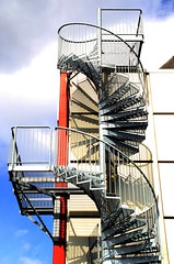 (tbg78) Tags: blue red norway stairs spiral norge shadows perspective norwegen staircase vestfold nttery