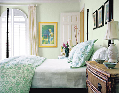 Lovely pale green + white bedroom: 'Parsley Tint' by Porter Paints