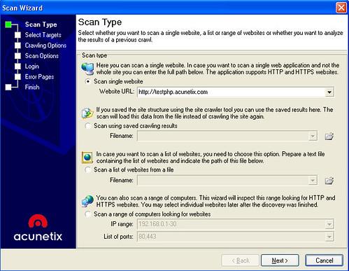 Acunetix Web Vulnerability Scanner - Scan Wizard
