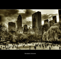 (Shobeir) Tags: city nyc newyorkcity people blackandwhite bw buildings centralpark iceskating willow trump hdr photomatix tonemapping newyorkskyscraper kissestooneofmyfavs