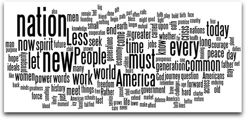 Word cloud of Obama's inauguration speech