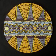 Pulsation #3 on black (Gila Mosaics n'stuff) Tags: abstract art yellow mosaic oneofakind violet mandala symmetry complementary 2009 gec wedi gilamosaics