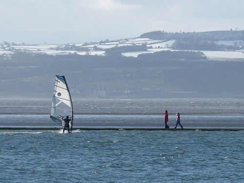 Winter Windsurfer, West Kirby Marine Lake, Wirral, England ...