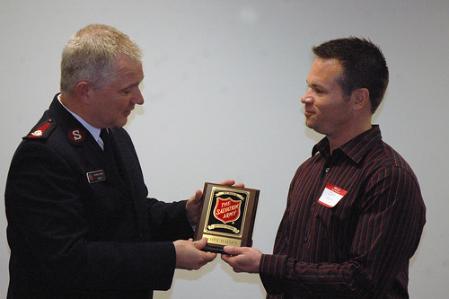 Major Dick Amick welcomes Scott Hainey the The Salvation Army Advisory Board