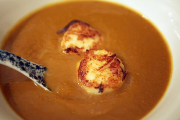 savoury pumpkin soup with scallops