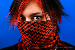 Primary Contast (zizaface!) Tags: blue red portrait selfportrait color girl digital eyes nikon head grand rapids grandrapids bandana rgb aziza grcc grandrapidscommunitycollege d80 nikond80 zizaface
