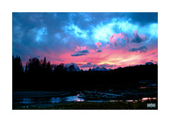 Sunset over Beaver Bend (Jeckyl Photo) Tags: sunset cloud mountain water river landscape texas unitedstates fineart scenic yellowstonenationalpark wyoming grandtetons tetons beaverbend mountianrange