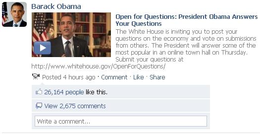 President Obama's Facebook Video Marketing