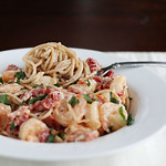 Pasta with Goat Cheese, Sun-Dried Tomatoes, and Shrimp