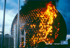 Biosphère, post-Expo 67, Montreal (ouno design) Tags: canada water museum architecture fire montreal conservation environmental biosphere canadian burning architect stlawrence buckminsterfuller geodesic worldsfair sustainable expo67 buckyball biosphère