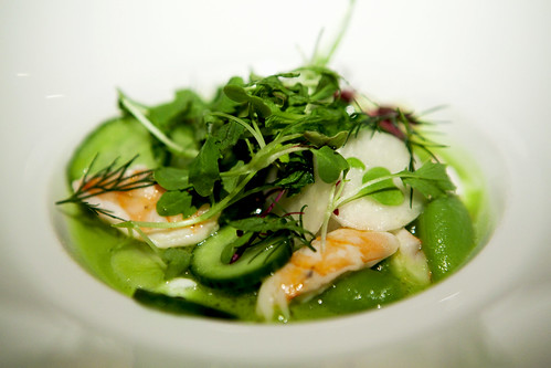 Sugar snap peas, shrimp, cucumber