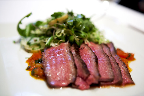 Seared flat iron steak