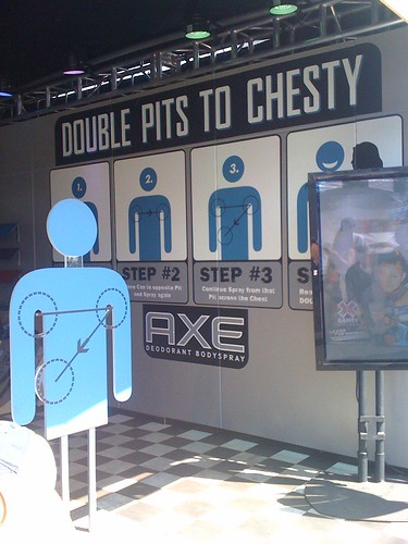 Axe body spray 'double pits to