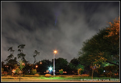 Colourful Night (Vivek Dikshit) Tags: trees light grass night clouds canon colourful eos1000d