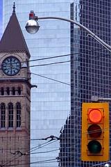UrbanScape (plismo) Tags: street city urban toronto ontario canada clock lines architecture buildings lights streetlight time streetscene redlight urbanscape queenstw oldnew oldcityhall urbanscene thetimegoesby