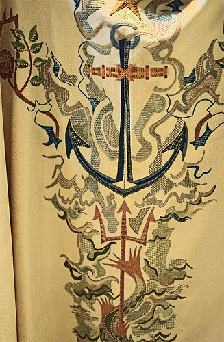 "Embroidered vestment (front detail) ""Star of the Sea"", made in Massachusetts, United States of America, from the collection of the Marianum, photographed at the Cathedral of Saint Peter, in Belleville, Illinois, USA"