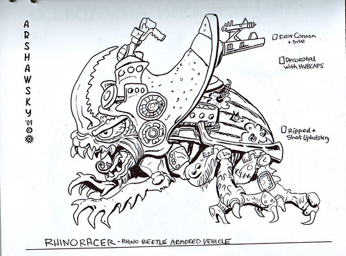 """Turtle Soup – Designs From The Classic TMNT Years""  the TMNT work of David Arshawsky :: RhinoRacer Vehicle (( 199x ))"