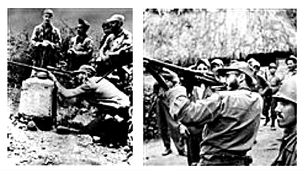 Castro and M-26-7 rebels at camp 1958