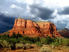 Courthouse Butte Rock , Sedona, Arizona (moonjazz) Tags: travel blue red arizona storm nature clouds landscape amazing skies superb earth sedona grand landmark best vista geography geology greeen hikes redrockcountry