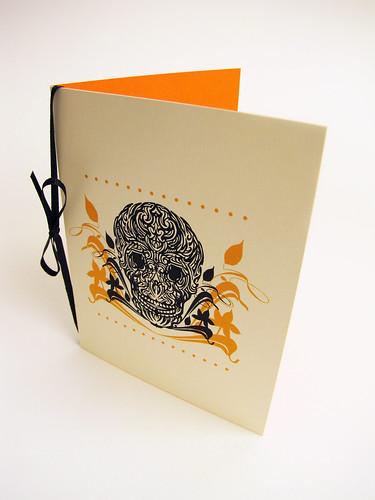 White Muertos Skull Card